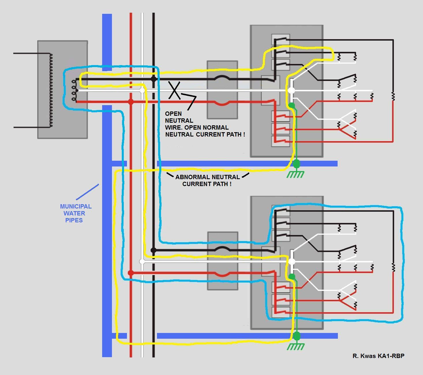 power distrib normal with open neutral fault condition, house wiring